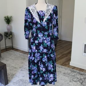 Vintage 80's Dark Floral Midi-Dress
